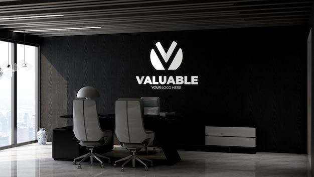 Maquete 3d do logotipo da empresa na moderna sala do gerente de escritório com elegante design de interiores