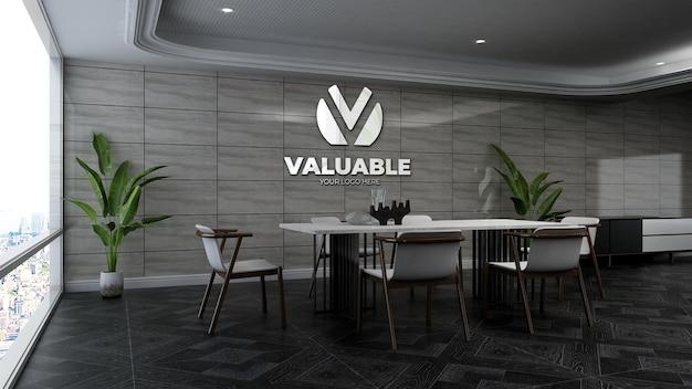 Maquete 3d do logotipo da empresa na sala de reuniões do escritório com parede de pedra