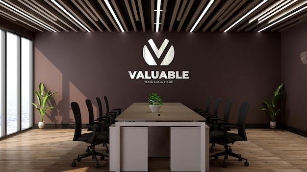 Maquete 3d do logotipo da empresa no espaço de reunião do escritório