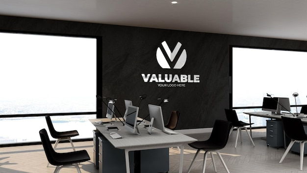 Maquete 3d do logotipo da empresa no espaço de trabalho ou local de trabalho de negócios de escritório