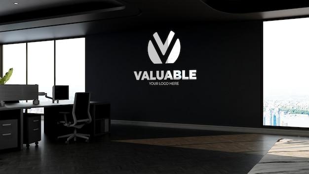 Maquete 3d do logotipo da empresa no moderno espaço de trabalho no céu