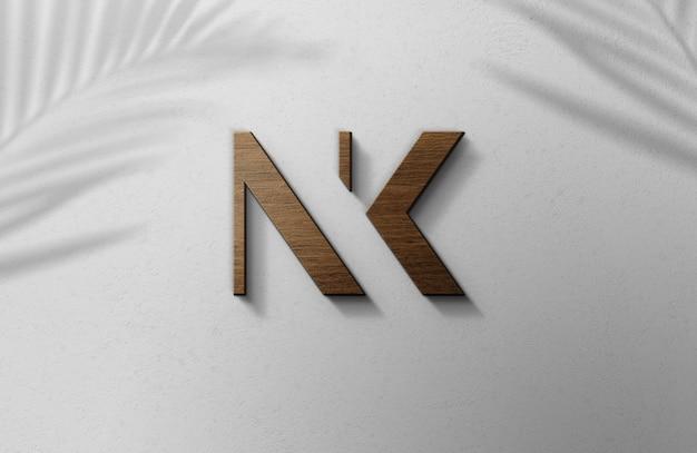 Maquete 3d do logotipo de madeira na parede branca