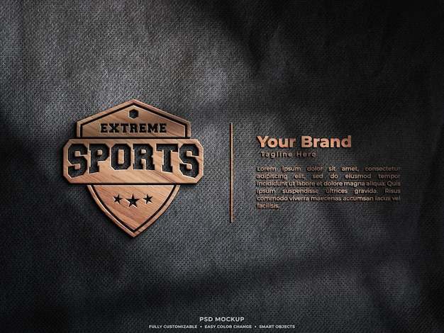 Maquete 3d do logotipo de madeira na parede
