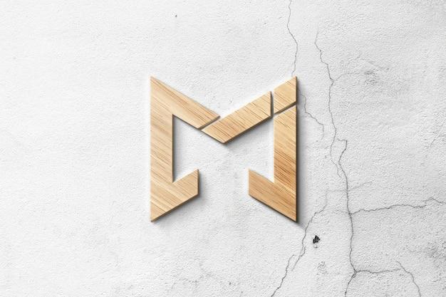 Maquete 3d do logotipo de madeira