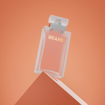 Maquete 3d do logotipo do frasco de perfume de luxo