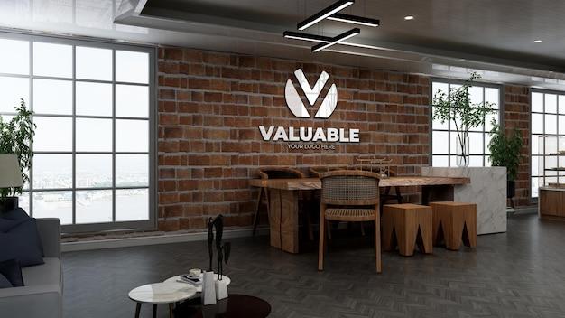 Maquete 3d do logotipo do restaurante ou bar com parede de tijolos