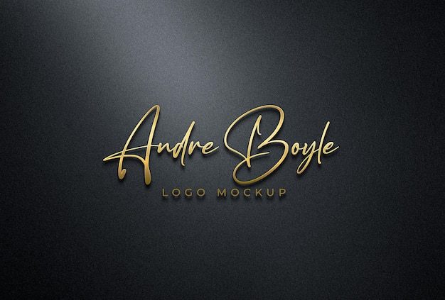 Maquete 3d do logotipo dourado na parede preta