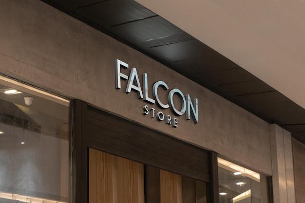 Maquete 3d do logotipo exclusivo do design da placa de fachada