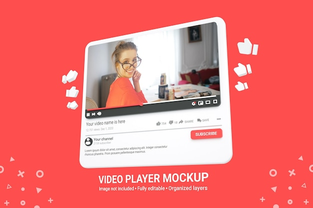 Maquete 3d do player de vídeo do youtube de mídia social