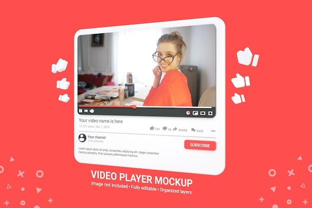 Maquete 3d do player de vídeo do youtube