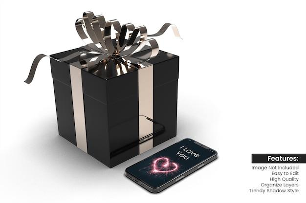 Maquete 3d do smartphone do dia dos namorados com design de caixa de presente