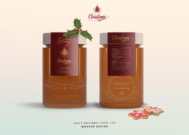 Maquete 3d realista para o frasco de mel de vidro de edição especial de natal