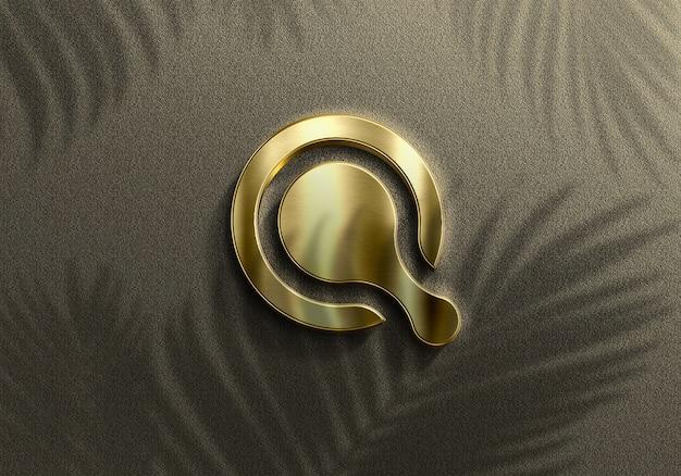 Maquete 3d realistic golden logo