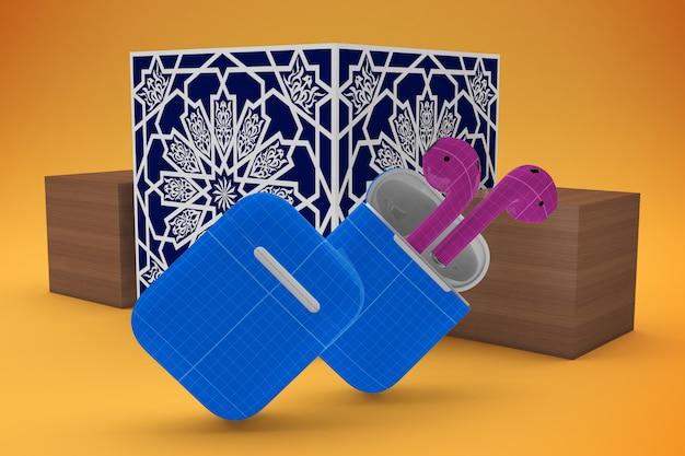 Maquete árabe da caixa do fone de ouvido
