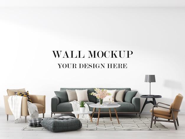 Maquete bonita e confortável da parede da sala de estar
