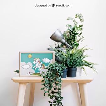 Maquete botânica de moldura na cadeira