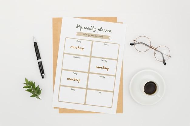 Maquete botânica de planejador semanal