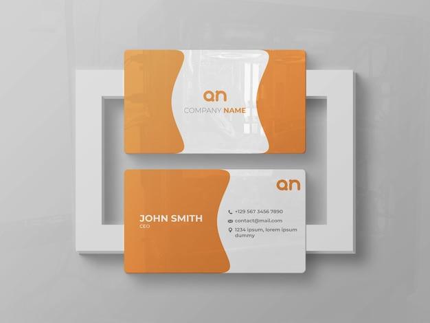 Maquete brilhante da frente e do verso do cartão de visita
