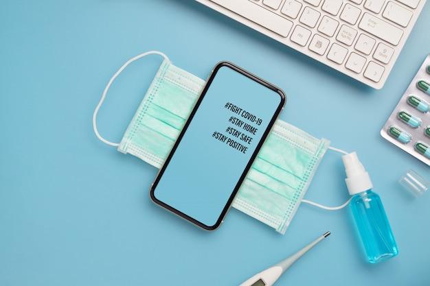 Maquete celular para o conceito covid-19. Psd Premium