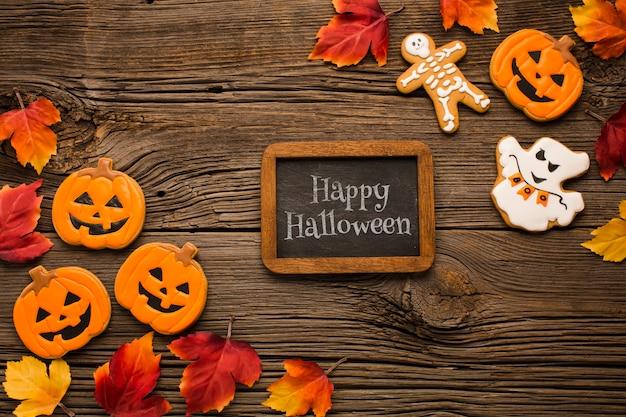 Maquete com doces de halloween