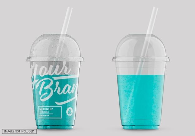 Maquete com etiqueta de copo de refrigerante de plástico transparente