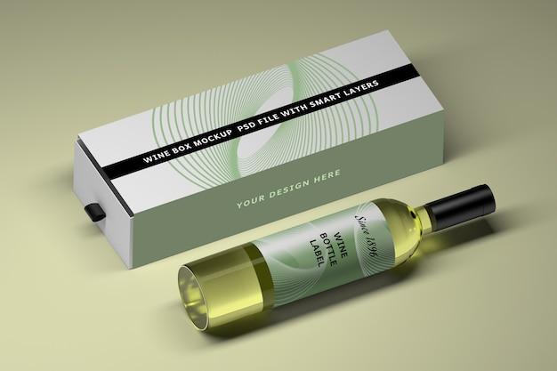 Maquete com garrafa de vinho de vidro e caixa longa
