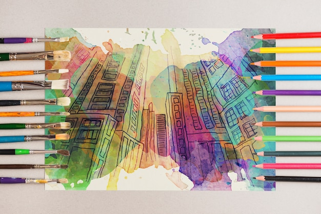 Maquete com lápis em diferentes colores
