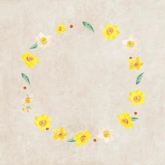 Maquete com padrão de moldura de flores mistas redondas