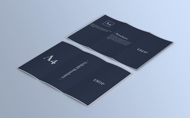 Maquete com três dobras da brochura vista direita por dentro e por fora