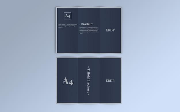 Maquete com três dobras de brochura vista superior por dentro e por fora
