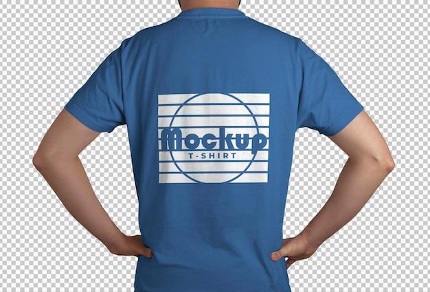 Maquete com vista traseira da camiseta azul