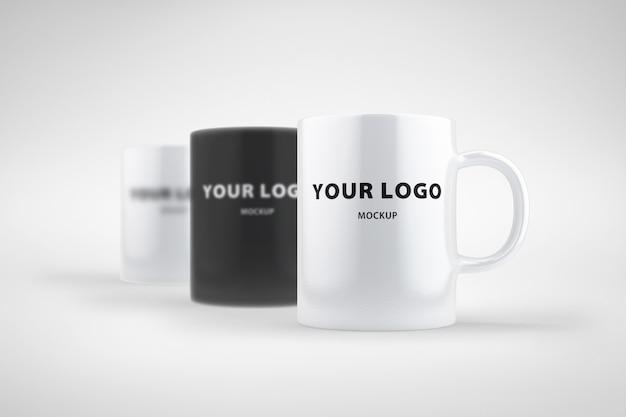 Maquete copo preto branco cinza design de logotipo