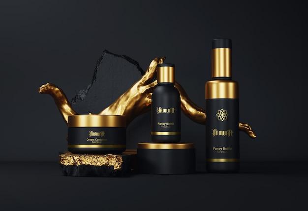 Maquete cosmética extravagante da embalagem do recipiente do creme do frasco e do frasco