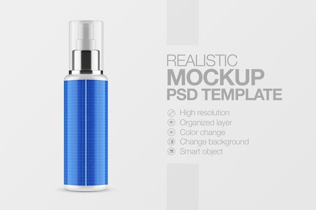 Maquete cosmético de frasco de spray plástico realista