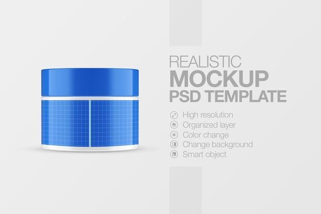 Maquete cosmético de pote de plástico realista