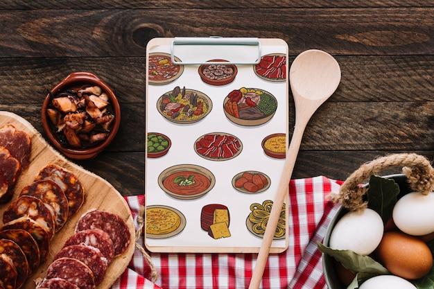 Maquete da área de transferência com o conceito de comida