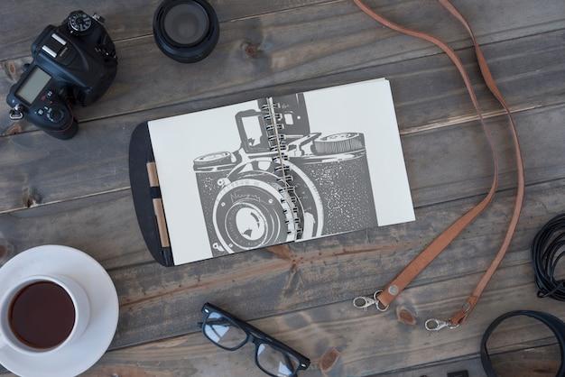 Maquete da área de transferência com o conceito de fotografia