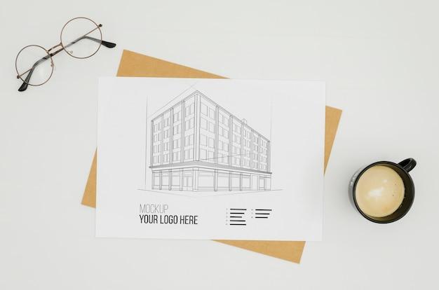 Maquete da arquitetura da vista superior ao ar livre