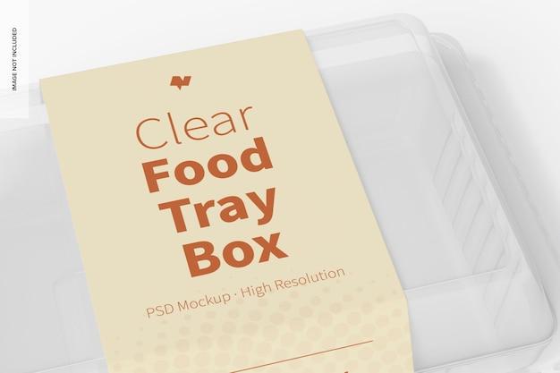 Maquete da caixa da bandeja de alimentos transparente, close-up