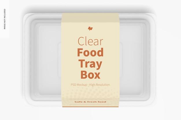 Maquete da caixa da bandeja de alimentos transparente, vista superior
