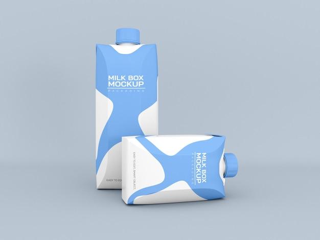 Maquete da caixa de embalagem de leite