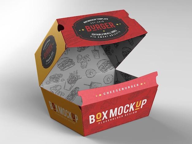 Maquete da caixa de hambúrguer para viagem