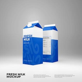 Maquete da caixa de leite fresco