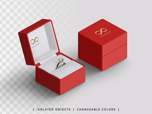 Maquete da caixa de noivado para presente de joias aberta e fechada com vista isométrica isolada do anel dourado
