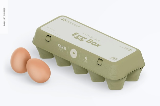 Maquete da caixa de ovo, vista esquerda isométrica