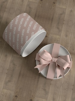 Maquete da caixa de presente do cubo