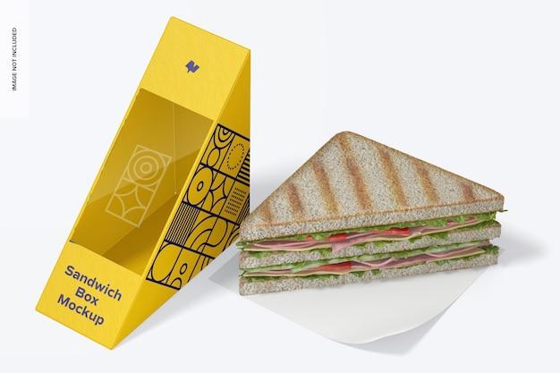 Maquete da caixa de sanduíche, vista do lado esquerdo