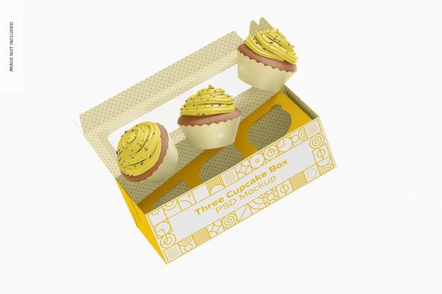 Maquete da caixa de três cupcakes, caindo