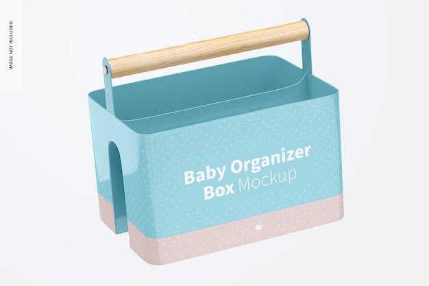 Maquete da caixa do organizador do bebê, caindo