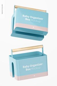 Maquete da caixa do organizador do bebê, flutuante